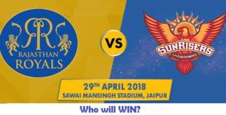 Rajasthan Royals vs Sunrisers Hyderabad | 28th Match | Dream11 Team 2 Behind History