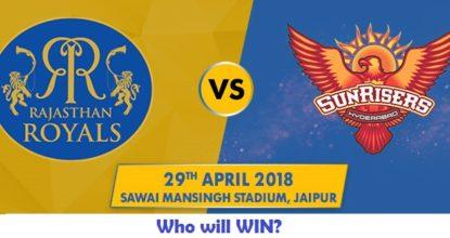 Rajasthan Royals vs Sunrisers Hyderabad   28th Match   Dream11 Team 25 Behind History